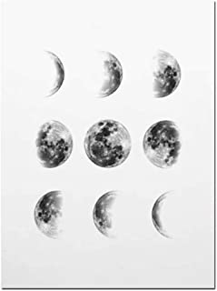 Solar System Wall Art Black and White Moon Phases Canvas Art Prints Minimalist Space Poster Painting for Living Room Home Decor,50x75cm No Frame,01