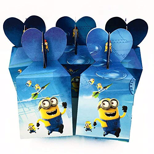 FHFF Papiertüten, 6 Stück, Minions, Süßigkeiten-Boxen, Cartoon-Papiertüten für Geburtstag, Babyparty, Event, Kleinkinder.
