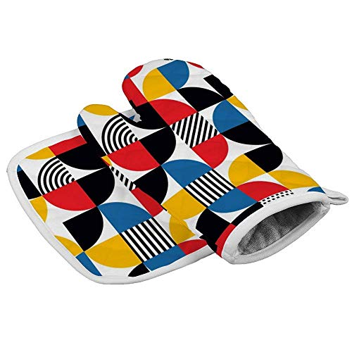 Co5675do Oven Mitts Insulated Kitchen Set Bauhaus-Style Abstract Geometric Pattern Polyester Oven...