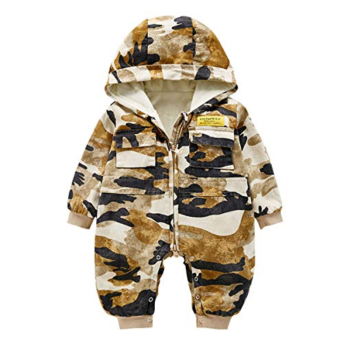 MHMTSY Baby Onesies Baumwolle Herbst und Winter Camouflage Langarm Warm Weich und Bequem Plus Baumwolle Warm Onesies Geeignet für 0-15 Monate Baby Farbe