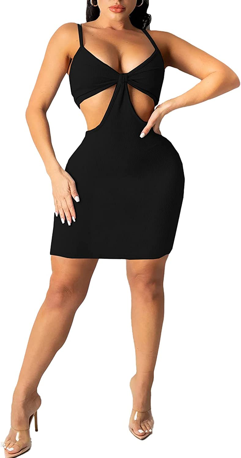 Linsery Cut Out Dress for Women Sexy Bodycon Knitted Backless Maxi/Midi/Mini Dress Club Party