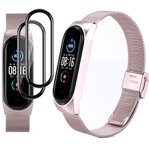 Milomdoi [3 Articulos] 1 Color Correas + 2 Unidades TPU Protector Pantalla para Xiaomi Mi Band 5 Correas Metal, Pulsera de Acero Inoxidable Agradable Wristband Repuesto (No Host)-Melan Oro Rosa