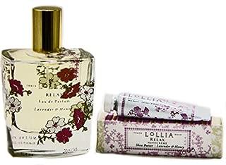 Lollia Relax Perfume with Free Petite Treat Handcreme Scent of Lavender and White Orchard Eau de Parfum 3.4 fl oz