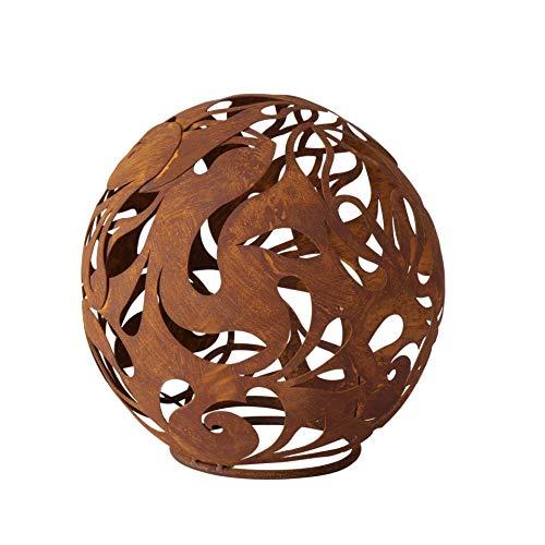 CasaJame Metall Deko Kugel braun Rost verschlungene Ornamente 22x22cm