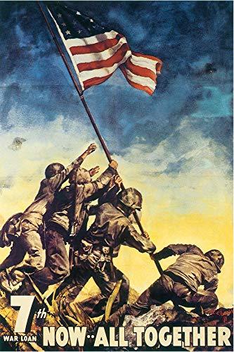 - Now All Together Iwo Jima Vintage World War II Two WW2 WWII USA Military Propaganda Poster - 24x36