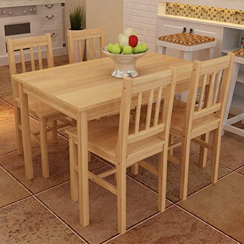 GOTOTOP Pine Wood Dining Table with 4 Chairs Kitchen Furniture for Dining Room, Kitchen, Living Room, Coffee, Natural Wood