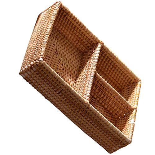 VOSAREA Bandeja portaobjetos de ratán, pequeños objetos de llaves, exhibición, cesta hecha a mano, 3 divisores, aperitivos, tuerca, cuenco de mesa, bandeja decorativa para comedor