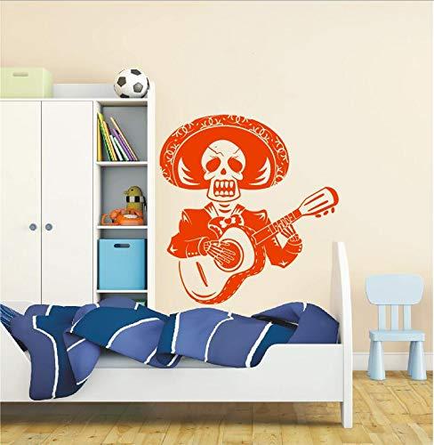 Art Design Creatieve Skelet Man Gitaar Spelen Muursticker Mexico Mexicaanse Mariachi Band en Strohoed Vinyl Muurschildering Home Speciale Decor56x57cm