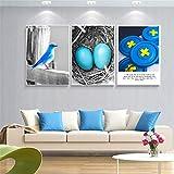Nórdico moderno lienzo pared arte impresión imágenes pintura azul brid huevo cartel geométrico para sala de estar dormitorio decoración del hogar-20x30cmx3 sin marco