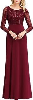 Ever-Pretty Vestiti da Cerimonia Stile Impero Rotondo Pizzo Manica Lunga con Paillettes Donna EZ07771