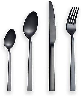 TOPSALE Set di Posate da 24 Pezzi Set di Posate Nere Scatola di Posate nel Acciaio Inossidabile Forchette Coltelli Cucchiai Set da Pranzo Set di Cucchiai da Cucina