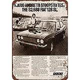 S-RONG雑貨屋 Mario Andretti for Fiat ブリキブリキ 看板レトロ デザイン Xmas 贈り物 20x30cm