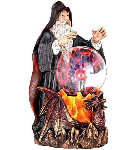 Design Toscano Wizard's Crystal Ball Illuminated Gothic Statue, Full Color