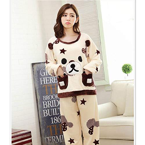 whmyz Winterpyjamas Neue Flanellpyjamas Frauen Winteranzüge koreanische süße und süße Fünf-Sterne-Keks tragen lässigen Home-Service-2_XXL