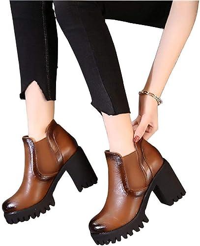 ZHRUI Botines de tacón Alto de Cuero de otoño e Invierno de mujer zapatos de algodón (Color   3, tamaño   38EU)