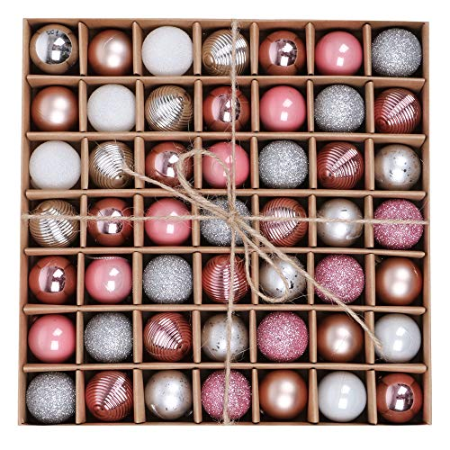 Valery Madelyn Weihnachtskugeln 49 Stücke 3CM Plastik Christbaumkugeln Weihnachtsdeko mit Aufhänger Glänzend Glitzernd Matt Weihnachtsbaumschmuck Weihnachten Dekoration Silber Rosa