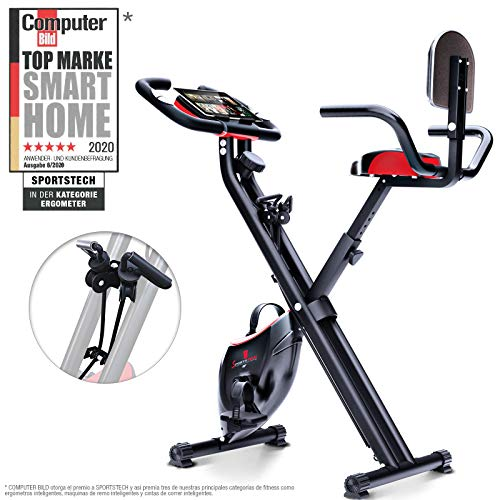 Sportstech Bicicleta estática Plegable con Respaldo X100-B con Volante de inercia de 4kg + Soporte para Tablet + 4 Niveles de Resistencia magnetica + sensores de Ritmo cardiaco