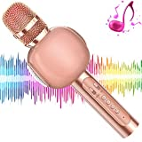 KVDUKOA Microphone for Kids, Portable Handheld Wireless Bluetooth Karaoke Mic Machine for Home, Party, Birthday Gifts and Kids Girls Toys Age 5 6 7 8 9 (Rose Gold)