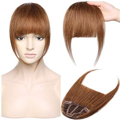 Pony Haarteil Echthaar Hellbraun #6 Clip in pony - Extensions Echthaar Haarteil Haarverlängerung mit Tempel Ein Stück 25g