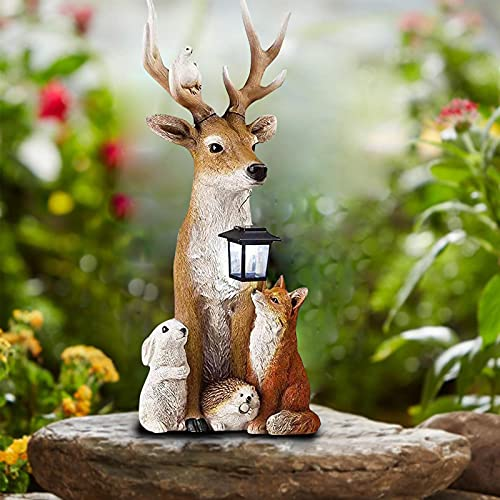 YiDIANIDAN - Lámpara solar de estatua de ciervo macho,luces decorativas realistas para los renos y los Elfos de jardín,ciervo de Navidad,zorro/conejo/pigeón polirresina,escultura animal,20 cm