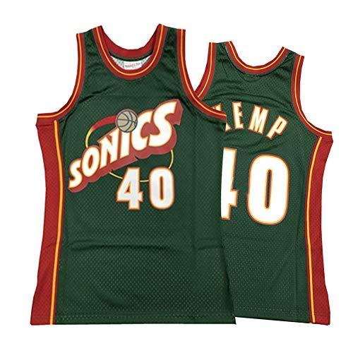 Herren Basketball Trikot, Seattle Supersonics 40# Shawn Kemp Street Retro T-Shirt Sommer Stickerei Tops Junge Swingman Basketball Kostüm Geburtstagsgeschenk (S-3XL)-Green.1-XL(180.185cm)