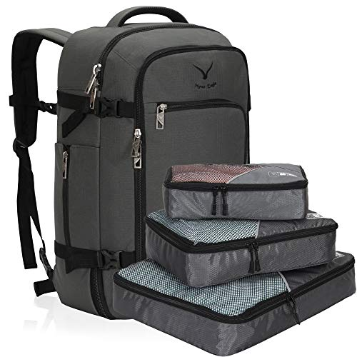 Hynes Eagle Travel Backpack 40L Flight Approved Carry on Backpack, Grey with 3PCS Packing Cubes 2018