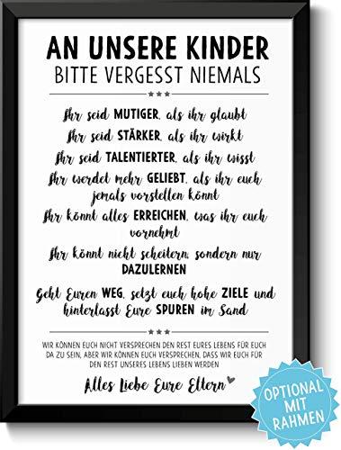 Vergiss Niemals Tochter Sohn Bild Mit Sprüchen Lebensweisheiten Holz Rahmen Optional Geschenkidee Geburtstag Kinder