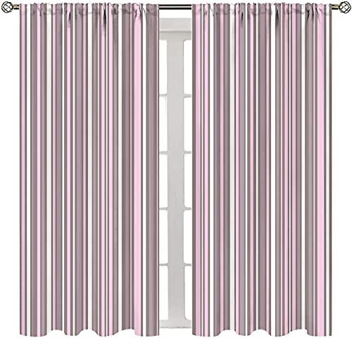 Tende termiche isolate per soggiorno, motivo geometrico, motivo a righe, stile moderno, linee verticali, colore tortora caldo, rosa e bianco tende decorative per hotel di qualità W163xL113 cm