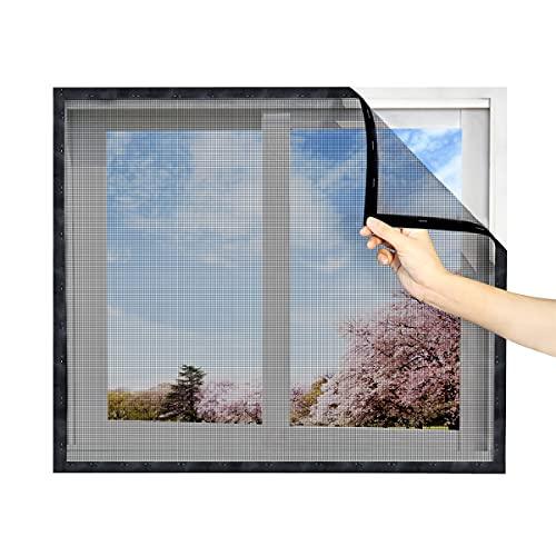 簡易網戸 張り替え マジックテープ式 窓に貼るだけ 簡単取り付け 虫よけ DIY自由裁断 グラスファイバー制(黒い 122x 252cm マジックテープ750cm付き)