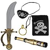 Balinco Piratenset 5-teilig bestehend aus Säbel + Augenklappe + Goldener Ohrring + Fernrohr +...