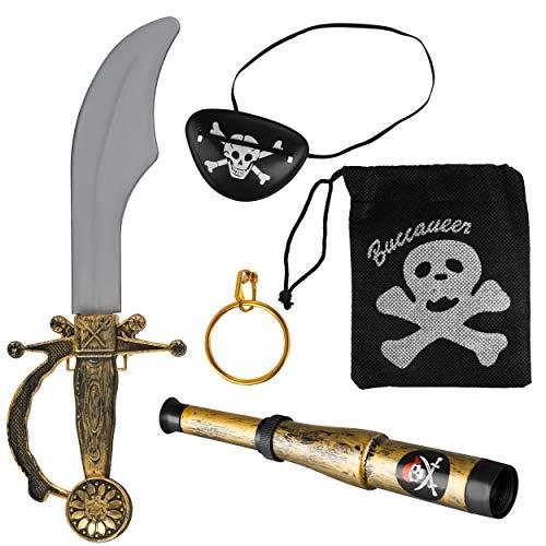 Balinco Piratenset 5-teilig bestehend aus Säbel + Augenklappe + Goldener Ohrring + Fernrohr + Totenkopfbeutel - Kostüm Set für Fasching / Karneval