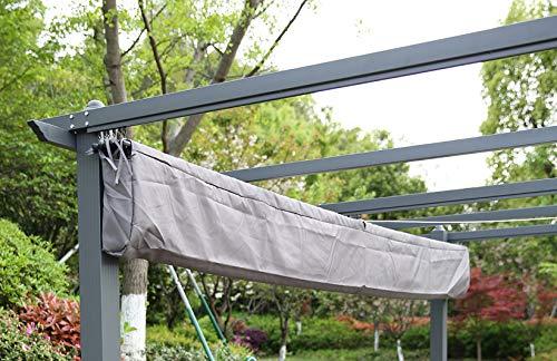 Angel Living - Funda de Protectora para la Lona del Techo de 3x4m pérgola para jardín o Patio, Color Gris