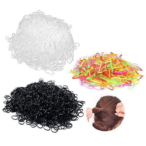 Clyhon 3000Pcs mini banda para el cabello elástica cola de caballo negra/transparente/perla banda para el cabello suave mezclada, adecuada para cabello de niñas trenzas pequeñas peinados de bo