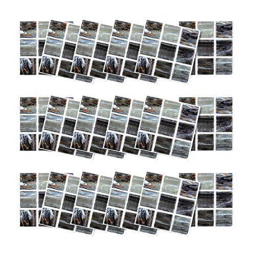 Leileixiao 18 unids Autoadhesivo 3D Pegatinas de Pared simulación Europeo geométrico azulejo Pegatinas de decoración del hogar Sala de Pared # y30 (Color : P)