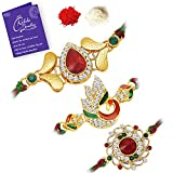 Sukkhi Ethnic Gold Plated Peacock Meenakari Rakhi Combo (Set of 3) with Roli