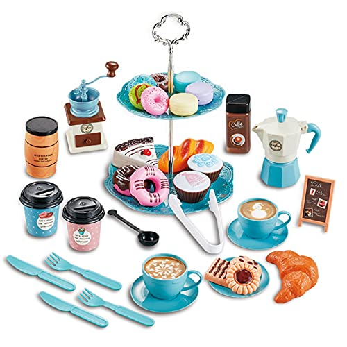 Juego de té para niños, juguete de cocina para niños, juego de rol, galletas de pasteles, juguete de postre, té de la tarde para niños