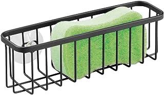 mDesign porte-éponges cuisine avec ventouses – organisateur d'évier, idéal comme support éponge, pour brosses à vaisselle,...