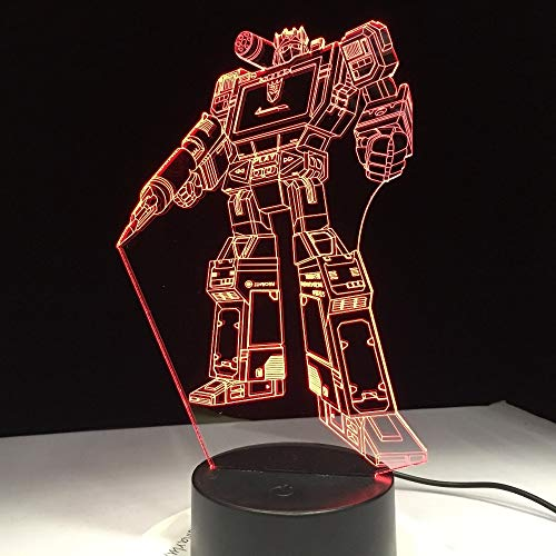 shiyueNB Touchscreen Transformatie Robot Action Figuren Speelgoed 3D LED-lamp 7 Kleuren Verander Nachtkastje per Nachtlampje Kids Gift