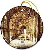 Adornos de la catedral de Gloucester de cerámica redondos de 2,8 pulgadas Pandent para amigos de familia