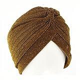 BUXIANGGAN Gorro Beanie Sombrero Precioso Gorro De Turbante De Punto Liso Sombreros Brillantes Mujeres Hombres Oro