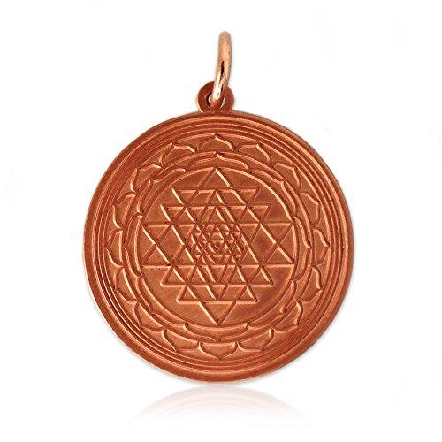 Schmuck Anhänger Shri Yantra aus Kupfer, energetisierendes Medaillon Kupfermedaillon zur Meditation Schutzsymbol