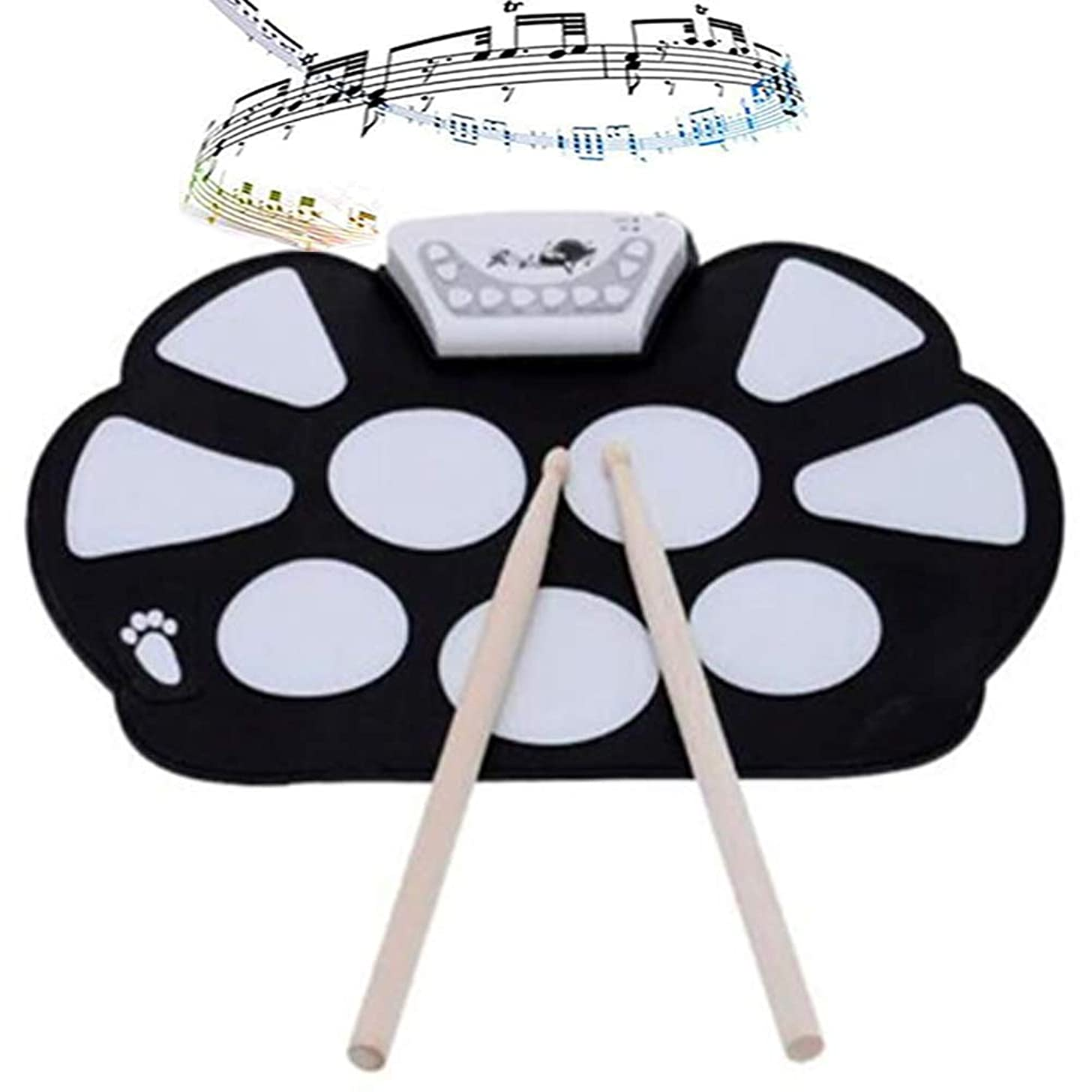 Electric Drum Set, Portable Electronic Roll up Drum Pad Kit Silicon Foldable with Drumsticks for Beginners, Christmas Holiday Birthday Music Instruments