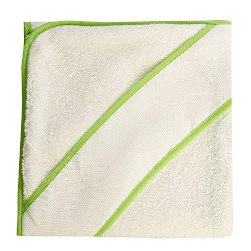 PURALGO-puro algodón. Toalla para bebés de punto de cruz, con gorrito. (blanco/ribete verde)