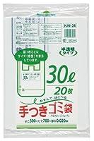ジャパックス 容量表示入 手付きポリ袋 30L 白半透明 20枚×30冊入