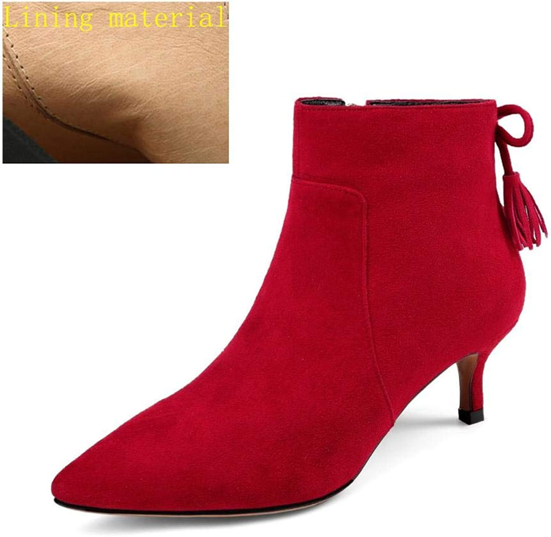Maguidern Ankle Booties for Women, Women's Slip On Pointed Toe Boots Lambskin Suede Boots Side Zip Kitten Heel Booties