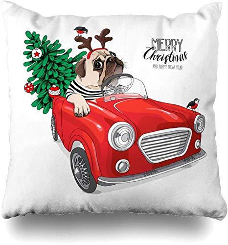 Cardigan de Navidad con diseño de perro carlino en Papá Noel 39 con máscara de ciervo en el interior de coche rojo con diseño de vacaciones, fundas de cojín de 18 x 18 Navidad fundas de almohada regalos para niñas y amigos fundas de almohada para sofá