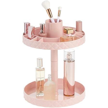 mDesign Organizador de cosméticos Giratorio – Elegantes bandejas de baño para lociones, cosméticos y medicamentos – Bandejas Redondas de Dos Alturas para organizar Maquillaje – Rosa