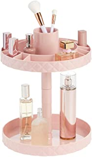 mDesign Spinning 2-Tier Lazy Susan Makeup Turntable Storage Center Tray - Rotating Organizer for Bathroom Vanity Counter Tops, Dressing Tables, Cosmetic Stations, Dressers - Light Pink/Blush