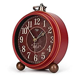 Number-One Classic Retro Alarm Clock, Red Vintage Non-Ticking Table Desk Small Alarm Clock, Battery Operated Silent Quartz Movement HD Glass for Bedroom Living Room Indoor Decoration