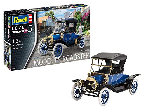 Revell 1913 Ford Model T Roadster, Automodellbausatz 1:24, 14,4cm REV-07661, unlackiert, 1/24